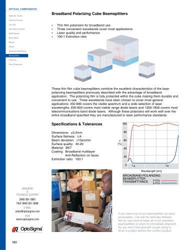 Broadband Polarizing Cube Beamsplitters