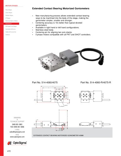 Extended Contact Bearing Motorized Goniometers