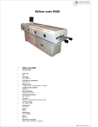 R460 full-convektion reflow oven