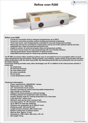 Reflow oven R260