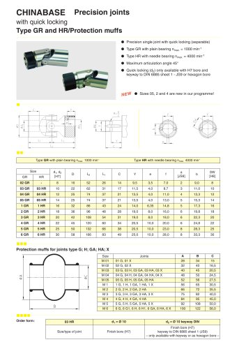Chinabase Precision joints type GR,HR?Widely used in machine tools, communication cable, light industry, chemical industry, metallurgy, instrumentation equipment, food, mining, oil, automotive and other mechanical transmission.
