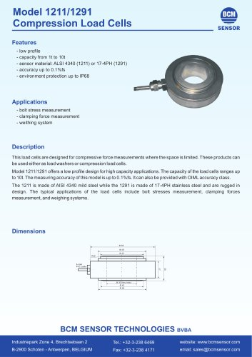 1211/1291 Cylindrical Compression Load Cells
