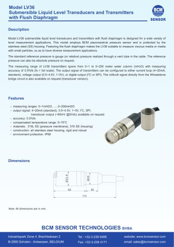 LV36 Submersible Liquid Level Transmitters With Flush Diaphragm