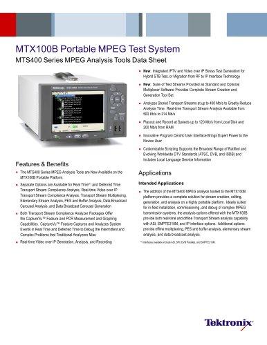MTS400 Series MPEG Analysis Tools