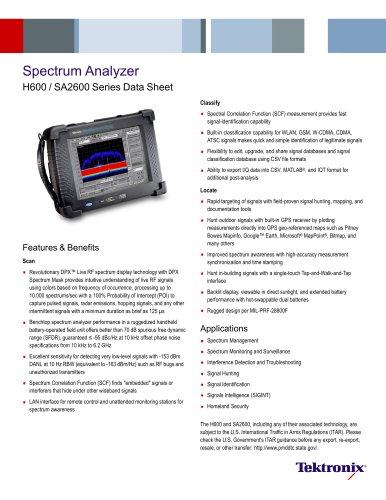 Spectrum Analyzer H600 / SA2600 Series