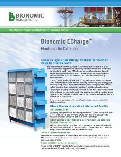 ECharge™ Electrostatic Collector