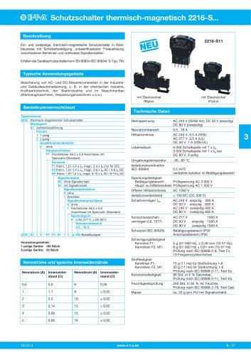 Thermisch-magnetische Schutzschalter 2216-S