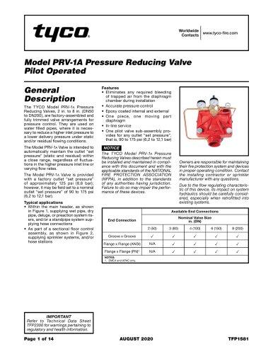 Model PRV-1A Pressure Reducing Valve Pilot Operated
