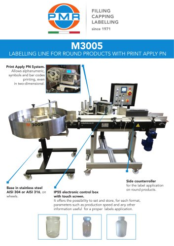 M3005 LABELLING LINE FOR ROUND PRODUCTS WITH PRINT APPLY