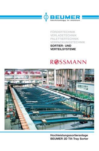 BEUMER 2D Tilt Tray Sorter im Rossmann Logistik-Zentrum