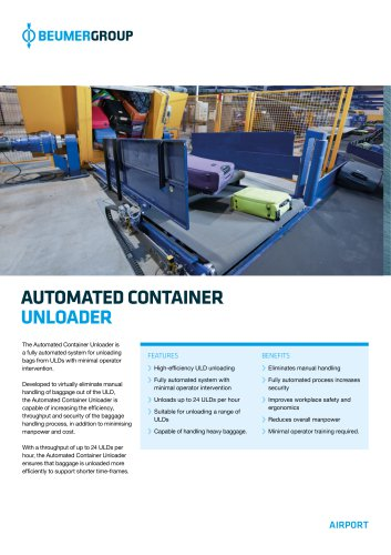 BEUMER Automated Container Unloader