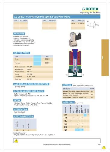 2 Port Direct Acting High Pressure Solenod Valve