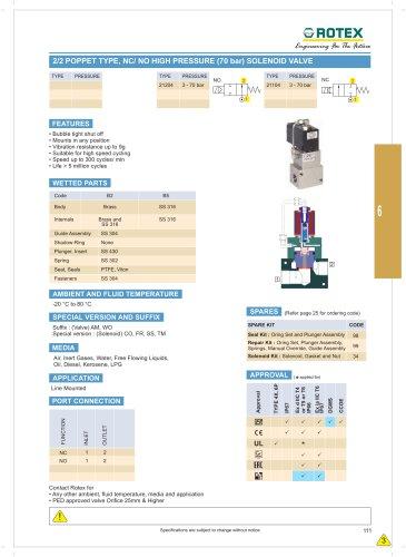 2 Port Poppet Type, NC/NO High Pressure ( 70 Bar ) Solenoid Valve