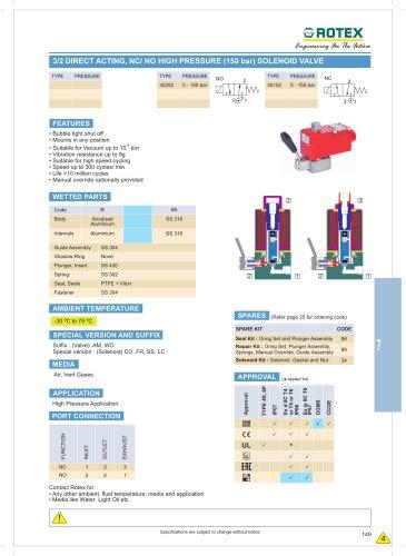 3 Port Direct Acting NC / NO High Pressure ( 150 bar ) Solenoid Valve
