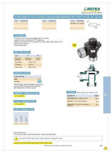 40 NB Remote Pilot Double Diaphragm Dressure Nut Port Pulse Jet Valve