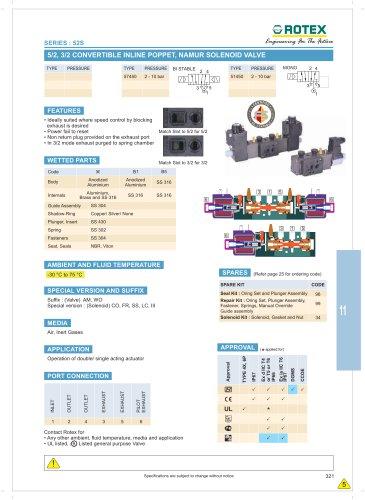5/2, 3/2 Convertible Inline Poppet, Namur Solenoid Valve