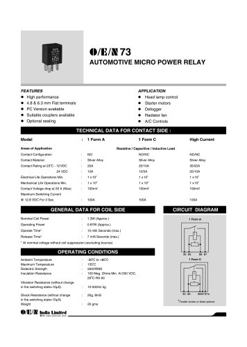 Series 73 automotive relay