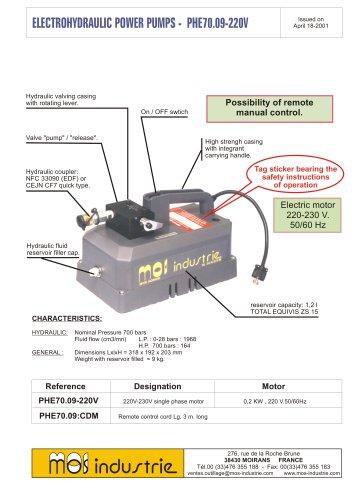 Electrohydraulic power pump PHE70.09.200V