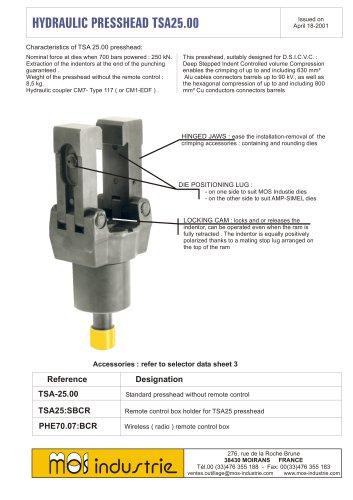 Hydraulic presshead - TSA.25.00