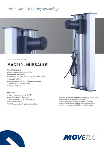 Aluminium Hubsäule MAC 210