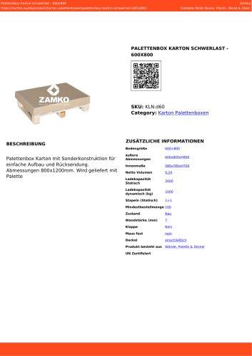 CARDBOARD PALLET BOX HEAVY LOAD - 600X800