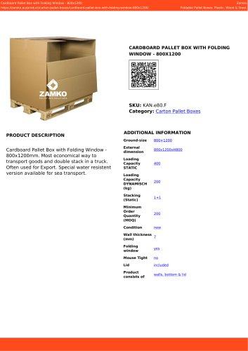 CARDBOARD PALLET BOX WITH FOLDING WINDOW - 800X1200