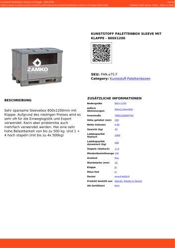 KUNSTSTOFF PALETTENBOX SLEEVE MIT KLAPPE - 800X1200 PAN e75 F