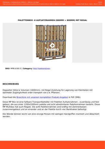 PALETTENBOX -8 AUFSATZRAHMEN (800MM + 800MM) MIT REGAL