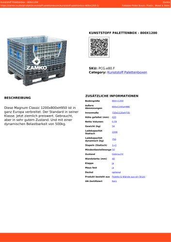 PLASTIC PALLET BOX - 800X1200 PCG e80 F