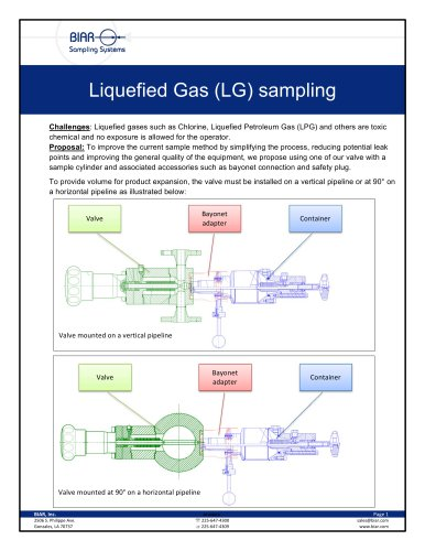 Liquefied Gas LG sampling