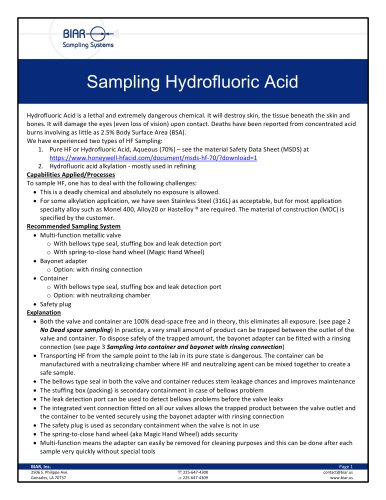 Sampling Hydrofluoric Acid
