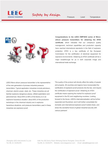 ATEX & IECEx approved pressure transmitter - LEEG Instruments