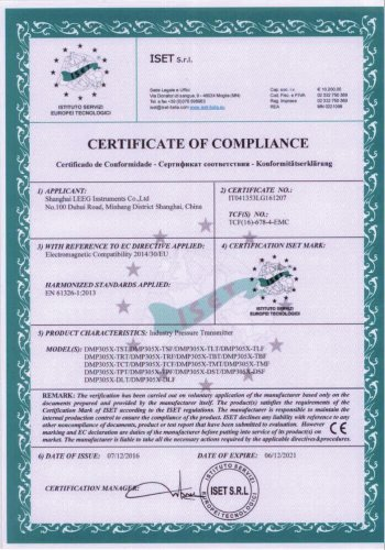 CE certificate -LEEG DMP305X Monosilicon pressure transmitter