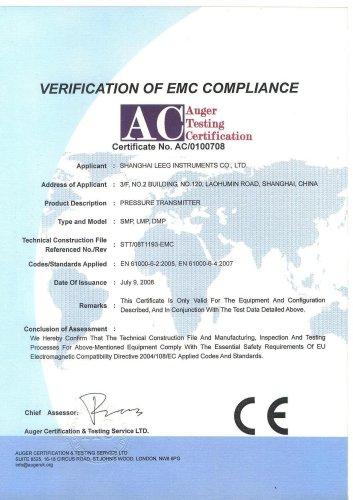 CE Certificate of pressure transmitter