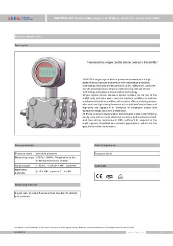 DMP305X-DSF Differential pressure transducer for absolute measuring