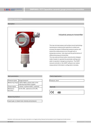 DMP305X-TCT Pressure transmitter for corrossive liquid and gas