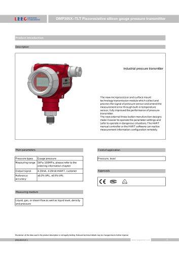 DMP305X-TLT gauge pressure transmitter