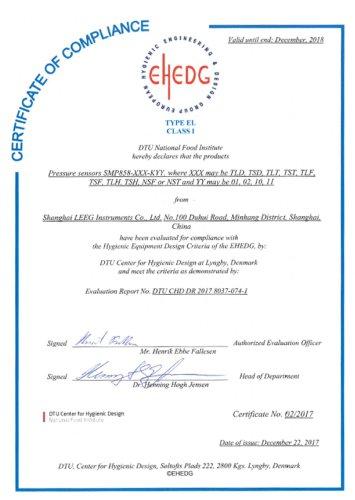 EHEDG Certificate for sanitary pressure transmitter -LEEG INSRTUMENTS