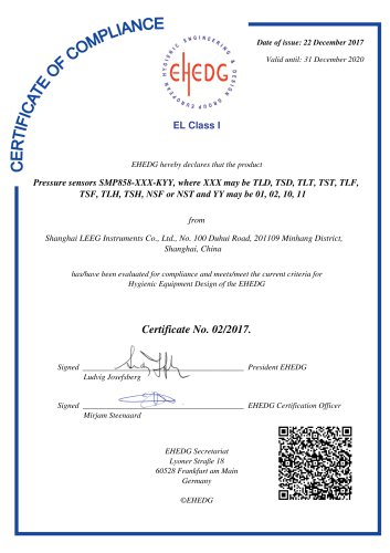 EHEDG certificates for sanitary pressure transmitter - LEEG Instruments