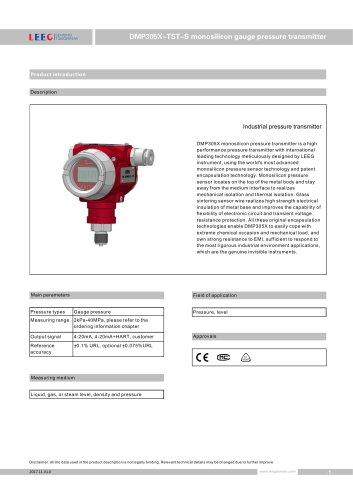 Gauge pressure transmitter DMP305X-TST-S