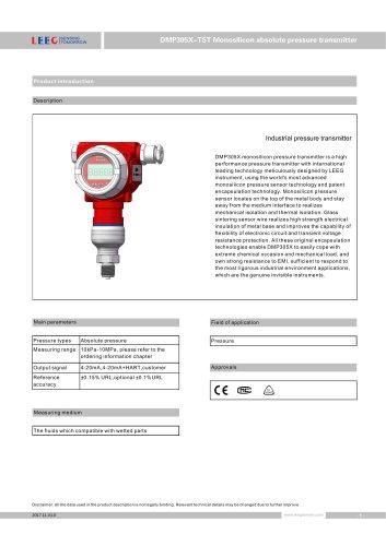 High overload absolute pressure transmitter DMP305X-TST-H