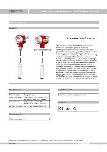 Hydrostatic level sensor with display datasheet LMP633-BCT