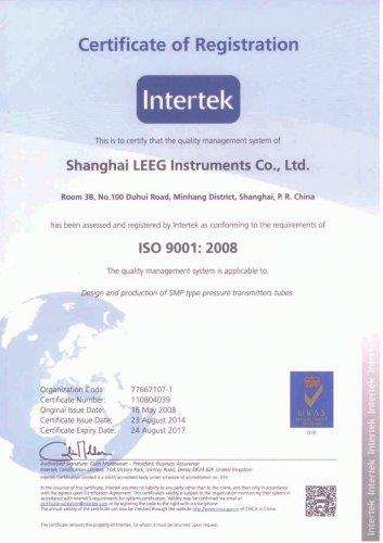 ISO:9001 Certificate of LEEG Instruments