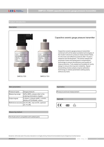 LEEG Instruments ceremic pressure sensor for corrosive liquid and gas SMP131-TCD datasheet
