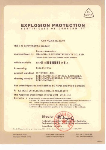 LEEG SMP Series Pressure Transducer Explosion Protection Certificate
