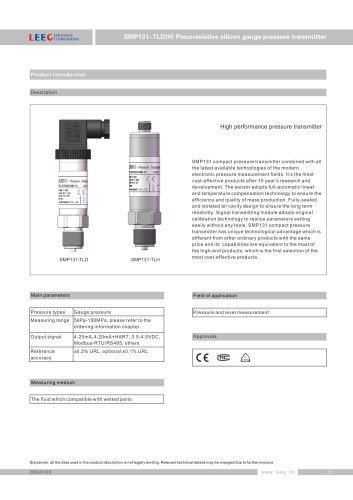 LEEG SMP131-TLD pressure transmitter for process monitoring