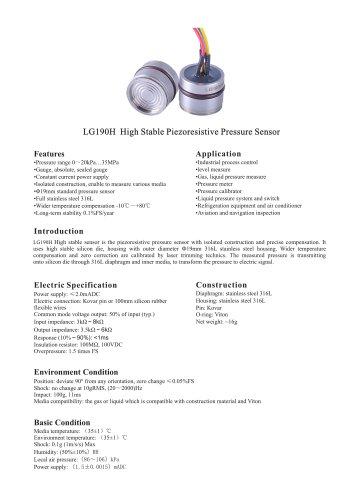 LG190H High Stable Piezoresistive Pressure Sensor
