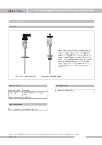 LG200-DRD temperature transmitter DIN43650