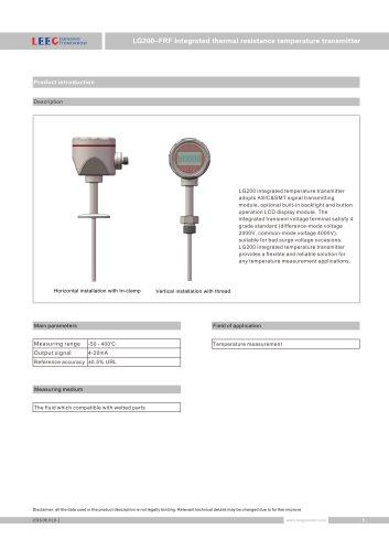 LG200-FRF stainless steel housing temperature sensor