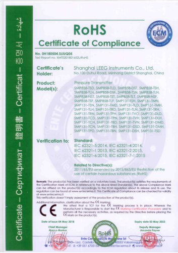 RoHS certificate for SMP131 & SMP858 pressure transmitter